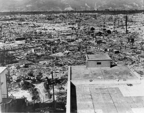 Effects of the atomic bomb on Hiroshima. View from the top of the Red Cross Hospital looking northwest. Frame buildings recently erected. 1945, US Department of Defense