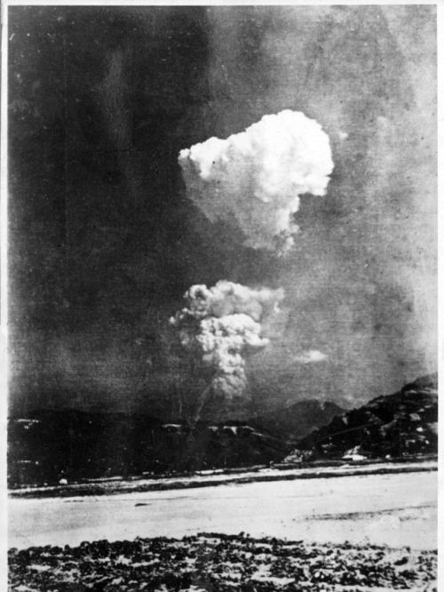 View of Hiroshima A-bomb from Honkawa Elementary School, taken 30 seconds after bombing.